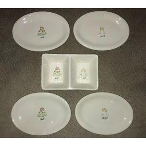 Rae Dunn Wedding double dish & 4 oval plate set